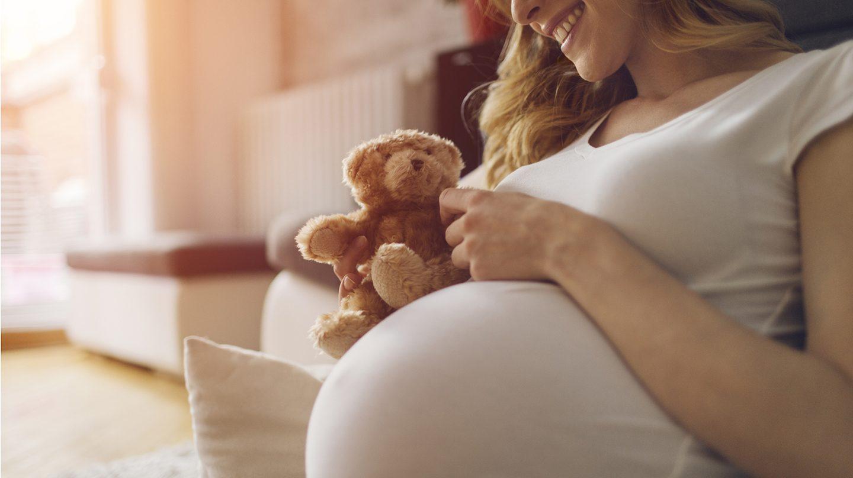 Folsäure in der Schwangerschaft: Fotoausschnitt mit einer schwangeren Frau, die einen kleinen Teddybär an ihren runden Bauch hält.