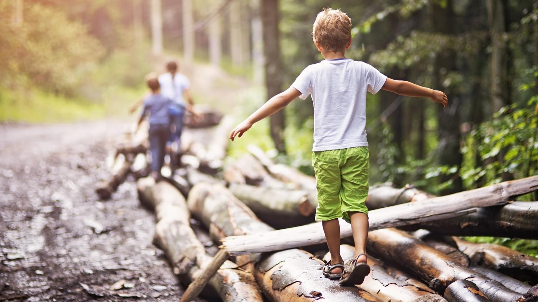 Wandern mit Kindern: Kinder balancieren über einen Baumstamm.